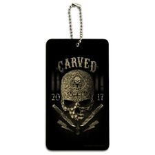 Carved One Shot Kill USA Flag Skull Tactical Wood Luggage Card Carry-On ID Tag