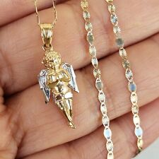 10k yellow white gold angel pendant charm 16 inch long chain necklace set