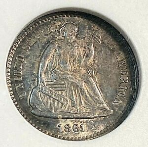 1861 Seated Liberty Half Dime Old ANACS AU55 Lovely Patina Best Price Ebay CHN