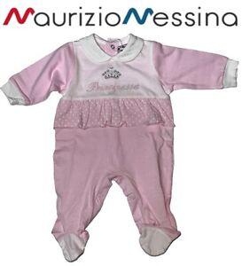Tutina neonata maniche lunghe intera o spezzata in Cotone Principessa