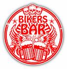 "Bikers Bar Skull Beer Grunge Rubber Stamp Car Bumper Sticker Decal 5"" x 5"""