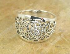 STUNNING .925 STERLING SILVER WIDE FILIGREE RING size 12  style# r0712