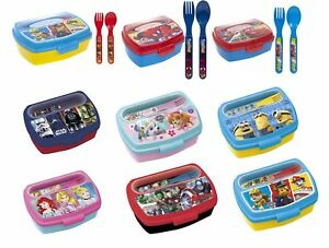 Girls Boys Kids Lunchbox w Cutlery Sandwich Box School Nursery Travelling  3+y