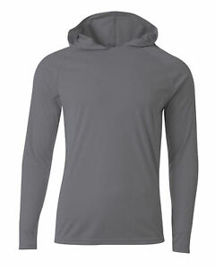 Men's Hooded Long Sleeve Loose Fit Rash Guard Surf Shirt Water Sports Swimwear