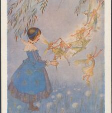 """The Fairy Flight"" Girl Communes With Fairies In Mist,Hilda Miller,Old Postcard"