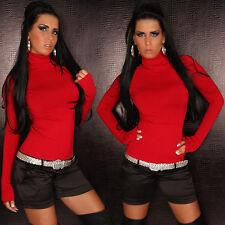 Sexy Basic Shirt Pullover Rollkragen Rolli Rollkragenpullover Rot S / M