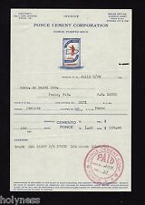 VINTAGE COMMERCIAL INVOICE / PONCE CEMENT CORP. / 1949 / PONCE, PUERTO RICO