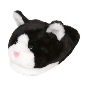 Black and White Kitty Slippers - Cat Slippers for Men and Women
