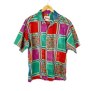 Vintage Original Jams Hawaiian Shirt Button Down 100% Cotton Surf Line Medium