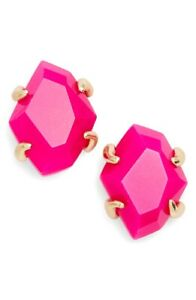 Inaiyah Stone Stud Earrings In Pink Unbanded Agate/ Gold