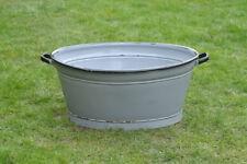 71.5 cm - old enamelled enamel washing bowl shabby bath chic -  FREE POSTAGE