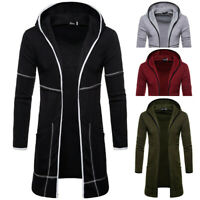US Mens Hooded Fall Trench Coat Jacket Cardigan Long Sleeve Outwear Blouse