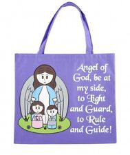 Purple Nylon Guardian Angel of God Tote Bag, 13 Inch