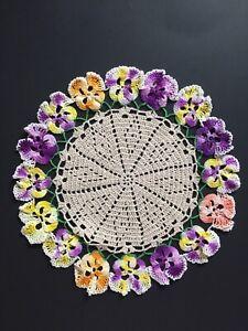 Vintage Round Hand Crocheted Doily. #ob75