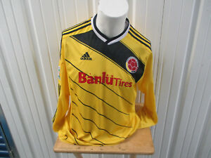 VINTAGE ADIDAS COLOMBIA SEWN XL YELLOW LNG SLEEVE JERSEY 2014 KIT BANLU TIRES