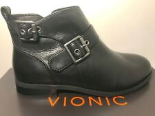 VIONIC Country Logan Ankle Boots Women's 7 M Black Leather Zip Booties $160