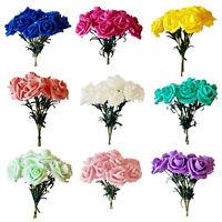 6 x Luxury Colourfast Artificial Foam Roses - Bridal Wedding Flowers Bouquet