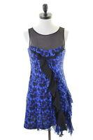 KAREN MILLEN Womens A-Line Dress Size 10 Small Blue Black Animal Print Suede