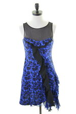 KAREN MILLEN Womens A-Line Dress Size 10 Small Blue Black Animal Print Suede