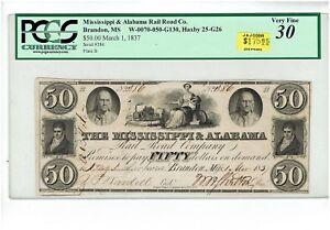$50 MISSISSIPPI & ALABAMA RAIL ROAD Co. BRANDON, MS. PCGS VF30. HAXBY 25-G26