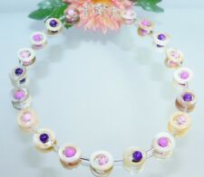 Kette HINREIßEND PERLMUTT natur weiss Donut Perlen lila flieder rosa   353q