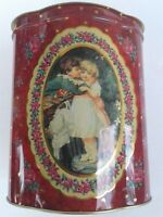 English Antiq TIN LITHO Girl Boy Kissing Flowers Storage Container Canniser