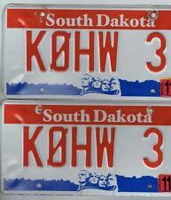 Amateur Radio South Dakota License Plate Pair  K0HW 3  2005 & Before  USED