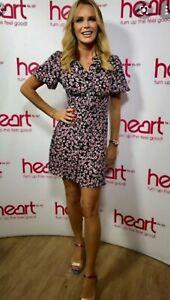 BNWT Black Pink Floral Tea Dress Size 10 Topshop Amanda Holden