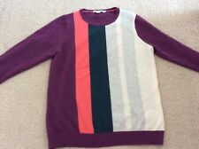 Boden 100% Cashmere Purple stripy jumper size 16