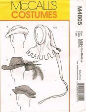 McCall's Men's Medieval and Renaissance Hats Pattern M4805 Size S-L UNCUT