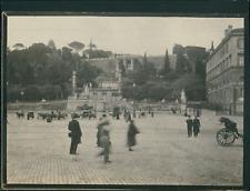 Italie, Rome,  Piazza del Popolo , Vue du Pincio., ca.1900, Vintage silver print