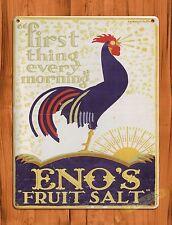 TIN Sign Enos Fruit Salt Rooster Chicken Farm Barn Coop Ad Vintage