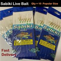 x10 Sabiki Live Bait Jigs Size 8 Hook Rigs, Yellow Tail, Slimies live bait jig