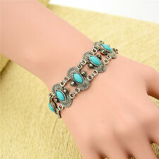 Women Lady Vintage Natural Turquoise Tibet Silver Bracelet Bangle Cuff Chain Hot