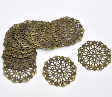 50 Hot Bronze Tone Filigree Flower Wraps Connectors 35mm
