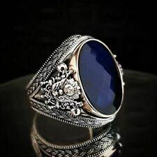 Artigianale Ottomano Simbolo 925 Argento Sterling Blu Zircone Pietra Uomo Anello