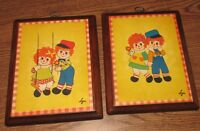 Rare Vintage Raggedy Ann & Andy Litho Wall Hanging Picture Plaques by Lyn Stapco