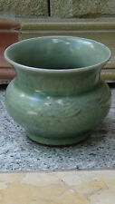 ANTIQUE CHINESE CELADON DRAGON BRUSH POT FOOTED W/ GLOBULAR FORM & FLARED NECK