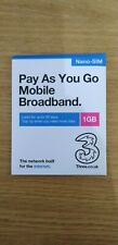 Three mobile Pay As You Go (PAYG) data 1GB Nano SIM card, incl. Roaming