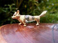 wunderschöne Kristall Glas Miniatur Figur Fuchs 4,5 cm Metall goldfarbend