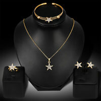 EG_ Women Rhinestone Star Charm Necklace Earrings Bracelet Ring Jewelry Set Opti