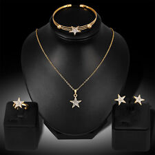 Women Rhinestone Star Charm Necklace Earrings Bracelet Ring Jewelry Set Optimal