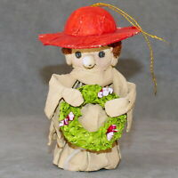 """Christmas Ornament Mache MONK Holding Wreath 5"""" As Is"""