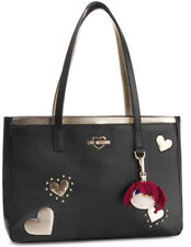 NEWT AUTH LOVE MOSCHINO BEAUTIFUL BLACK SHOULDER TOTE  BAG W CHARMING DOLL