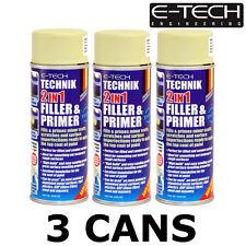 3x E-Tech Filler Primer for Alloy Wheel Refurbishment 400ml can - Auto Repairs