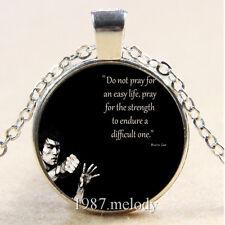 New Cabochon Glass Silver/Bronze/Black Chain Pendant Necklace (Bruce Lee )
