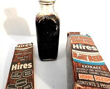 VINTAGE ~ Hires Root Beer Extract 3oz.FULL Bottle w Box & Directions