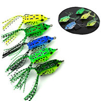 New 1/5PCS Frog Topwater Soft Fishing Lure Crankbait Hooks Bass Bait Tackle