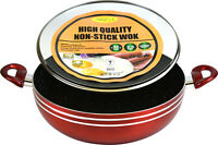 (High Quality) - Marble Coated Non Stick Red Wok With Tempered Glass Lid (32CM)