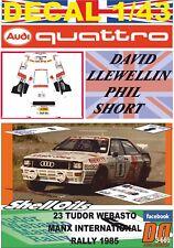 DECAL 1/43 AUDI QUATTRO A2 D.LLEWELLIN MANX INTERNATIONAL R. 1985 DnF (01)
